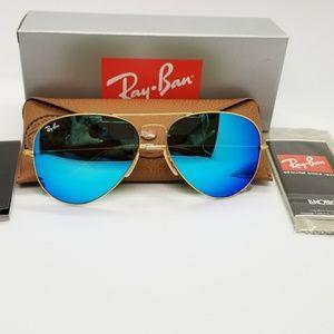 Ray Ban Aviator rb3025 matte golden/blue mirror